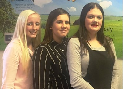 Three apprentices; Jodie Stacey, Leila Clack and Charlotte Gunner