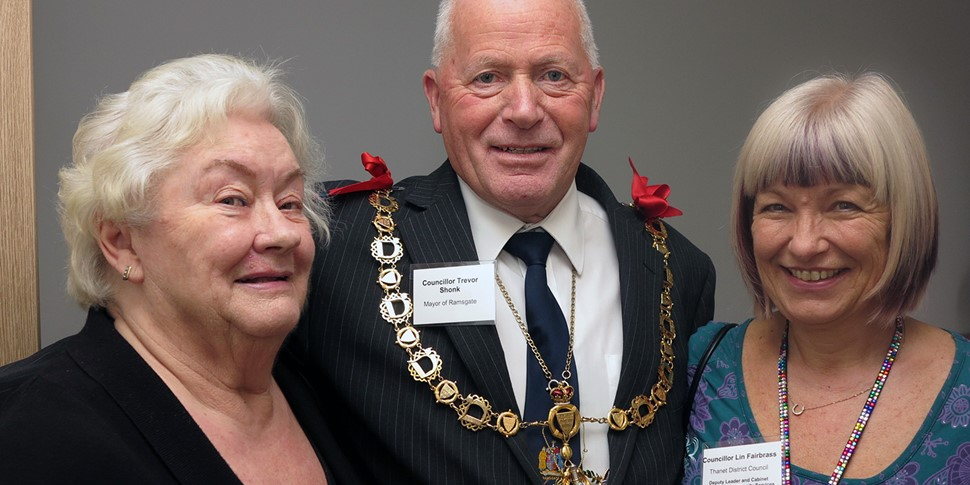 Resident Jennifer Young welcomes Cllr Trevor Shonk and Cllr Lin Fairbrass into her home.jpg