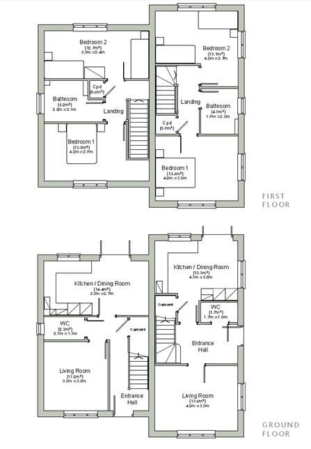 Floor plans for the 2 bedroom homes