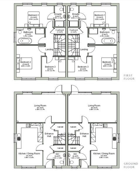 Floor plans for the 3 bedroom homes